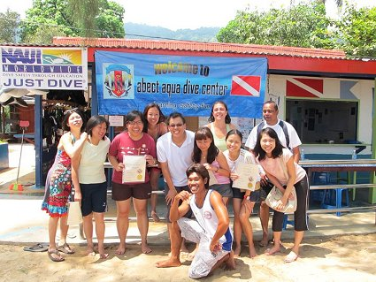 Another happy group certified to scuba dive by Malaysia Sea Sports and PADI