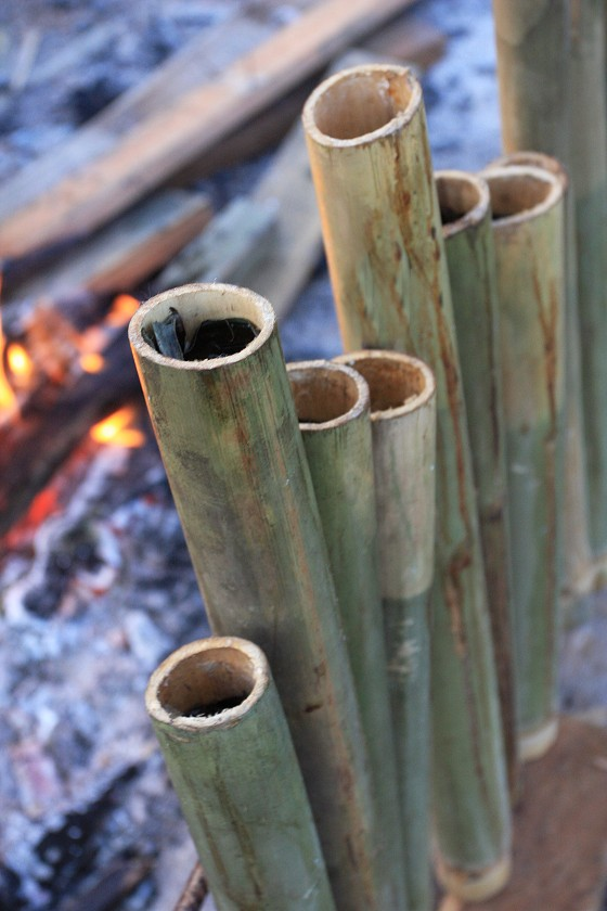 Lemang: glutinous rice and coconut milk. Delicious to the last bite