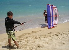 Teaching the kite-surfing basics on a small trainer kite