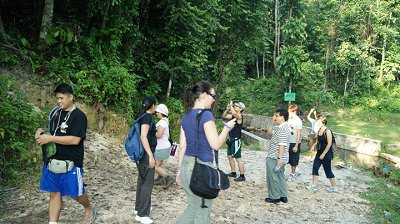 The Singapore Adventurous Group limbering up for the Gunung Arong ascent