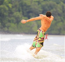 Malaysia Sea Sports' gradually sloping beach is prime skimboard territory